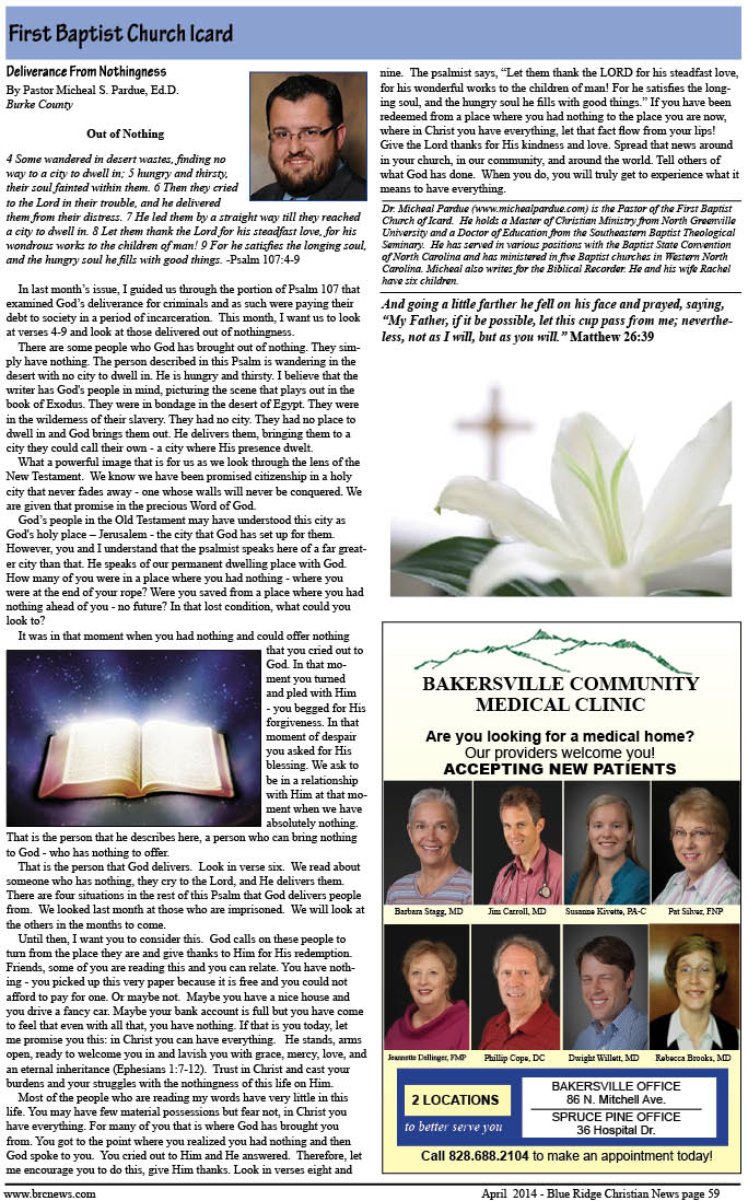 April Blue Ridge Christian News